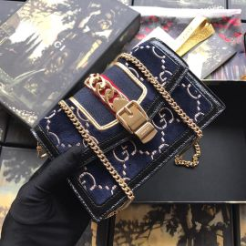 Gucci Sylvie Velvet GG Chains Mini Bag Blue 494642