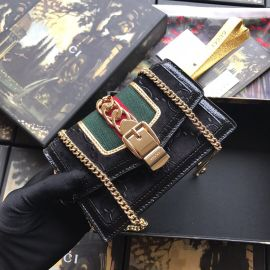 Gucci Sylvie Velvet GG Super Mini Bag Black 494646