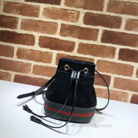 Gucci Ophidia Suede Mini Bucket Bag Black 550620