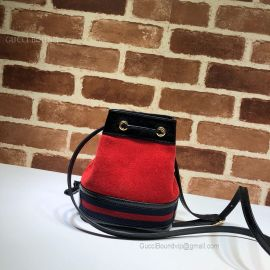 Gucci Ophidia Suede Mini Bucket Bag Red 550620