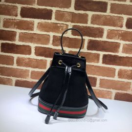Gucci Ophidia Suede Small Bucket Bag Black 550621