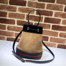 Gucci Ophidia Suede Small Bucket Bag Chestnut 550621