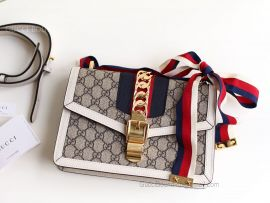 Gucci Sylvie GG Small Shoulder Bag White 421882