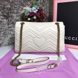 Gucci GG Marmont Medium Matelasse Shoulder Bag White 443496
