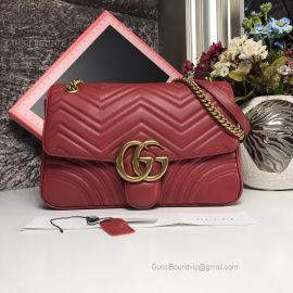 Gucci GG Marmont Medium Matelasse Shoulder Bag Red 443496