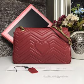 Gucci GG Marmont Medium Matelasse Shoulder Bag Red 443496
