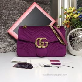 Gucci GG Marmont Velvet Medium Shoulder Bag Purple 443496