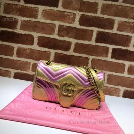 Gucci GG Marmont Small Matelasse Shoulder Bag Gold And Pink 443497