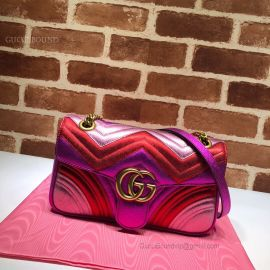 Gucci GG Marmont Small Matelasse Shoulder Bag Pink And Red 443497