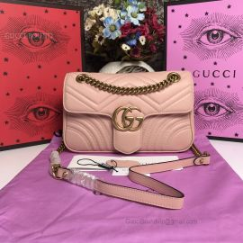 Gucci GG Marmont Small Matelasse Shoulder Bag Pink 443497