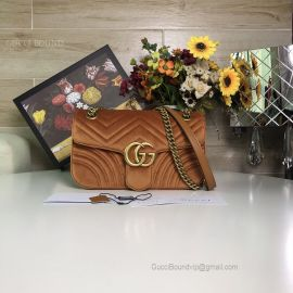 Gucci GG Marmont Velvet Shoulder Bag Brown 443497