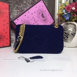 Gucci GG Marmont Velvet Shoulder Bag Blue 443497