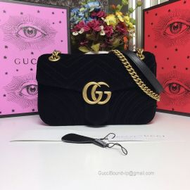 Gucci GG Marmont Velvet Shoulder Bag Black 443497