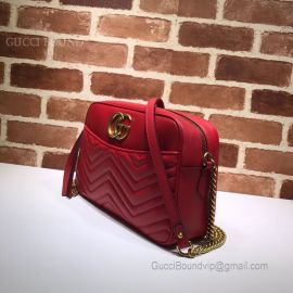 Gucci GG Marmont Medium Matelasse Shoulder Bag Red 443499