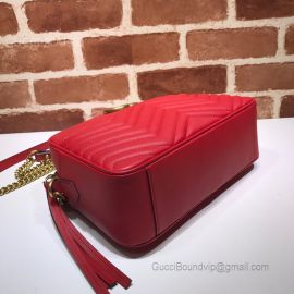 Gucci GG Marmont Medium Matelasse Shoulder Bag Red 443499