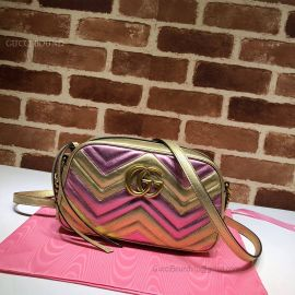 Gucci GG Marmont Small Matelasse Shoulder Bag Pink And Gold 447632
