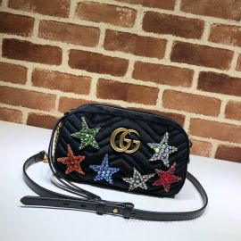 Gucci GG Marmont Velvet Small Shoulder Bag Star Black 447632