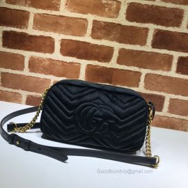 Gucci GG Marmont Velvet Small Shoulder Bag Blooms Black 447632