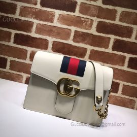 Gucci Web Leather Shoulder Bag White 476468