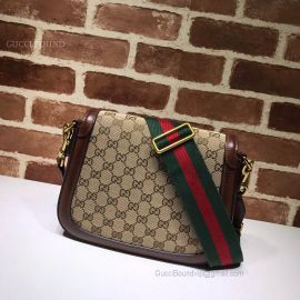 Gucci Saddle GG Small Shoulder Bag Brown 495663