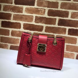 Gucci Padlock Signature Small Shoulder Bag Red 498156