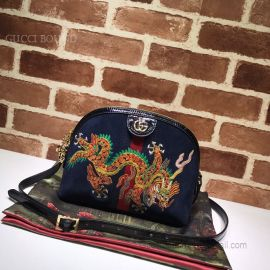 Gucci Ophidia Suede Embroidered Small Shoulder Bag Blue 499621