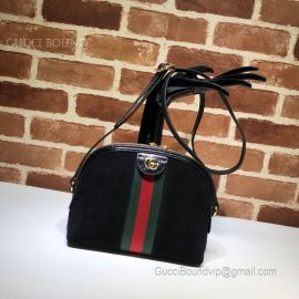 Gucci Ophidia Suede Small Shoulder Bag Black 499621