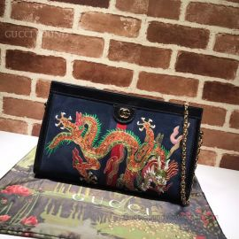 Gucci Ophidia Suede Embroidered Medium Shoulder Bag Blue 503876