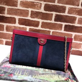 Gucci Ophidia Suede Medium Shoulder Bag Blue 503876