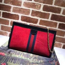 Gucci Ophidia Suede Medium Shoulder Bag Red  503876