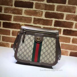 Gucci GG Supreme Saddle Shoulder Bag Brown 523658
