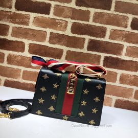 Gucci Sylvie Bee Star Small Shoulder Bag Black 524405