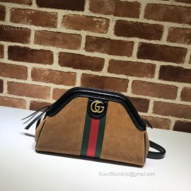 Gucci Re(Belle) Suede Small Shoulder Bag Chestnut 524620