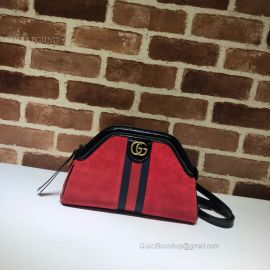 Gucci Re(Belle) Suede Small Shoulder Bag Red 524620