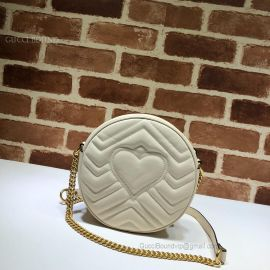 Gucci GG Marmont Mini Round Shoulder Bag White 550154