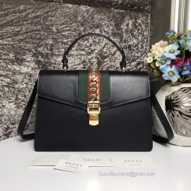 Gucci Sylvie Medium Top Handle Bag Black 431665
