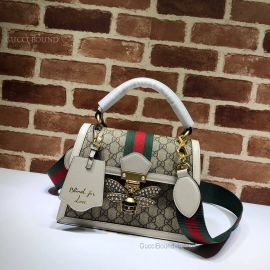 Gucci Queen Margaret Small GG Top Handle Bag White 476541