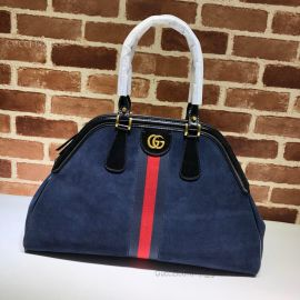 Gucci Re(Belle) Suede Large Top Handle Bag Blue 515937