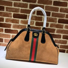 Gucci Re(Belle) Suede Large Top Handle Bag Chestnut 515937
