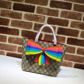 Gucci Children's GG Supreme Rainbow Bow Tote Multicolor 501804