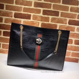 Gucci Rajah Leather Large Tote Black 537219