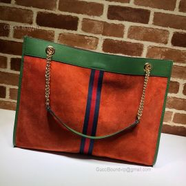 Gucci Rajah Suede Large Tote Orange 537219