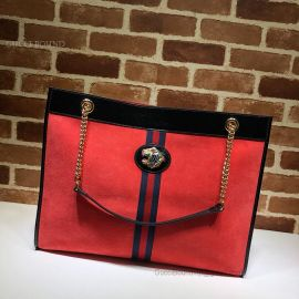 Gucci Rajah Suede Large Tote Red 537219