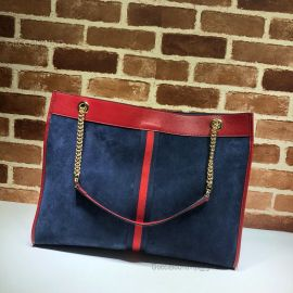 Gucci Rajah Suede Large Tote With NY Yankees Patch Blue 537219