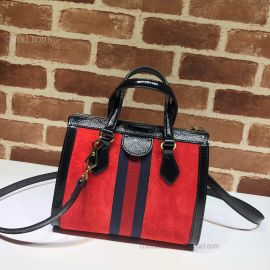 Gucci Ophidia Small Suede Tote Bag Red 547551