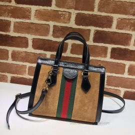 Gucci Ophidia Small Suede Tote Bag Chestnut 547551