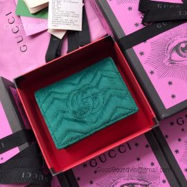 Gucci GG Marmont Velvet Card Case Green 466492