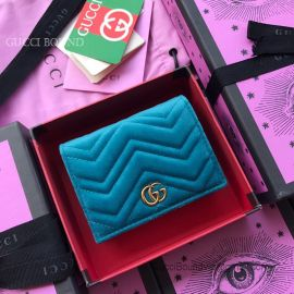 Gucci GG Marmont Velvet Card Case Blue 466492
