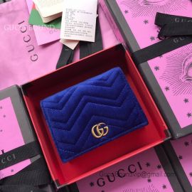 Gucci GG Marmont Velvet Card Case Dark Blue 466492