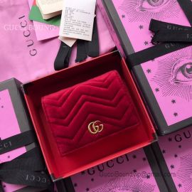 Gucci GG Marmont Velvet Card Case Red 466492
